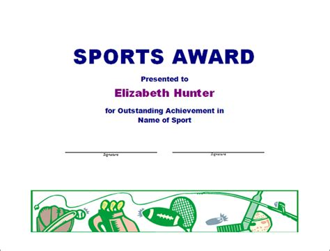 Sports Award Certificate Template printable award certificate templates sleprintable