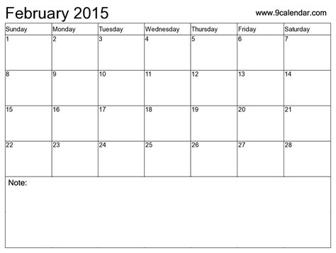 9 best images of blank february calendar 2015 printable