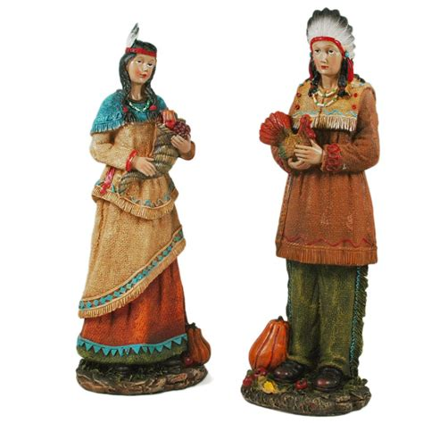 resin pilgrim and indians thanksgiving american indian couples figurines thanksgiving wikii