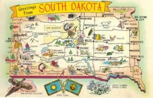South Dakota State Map by State Map Postcard South Dakota Greetings Vintage The