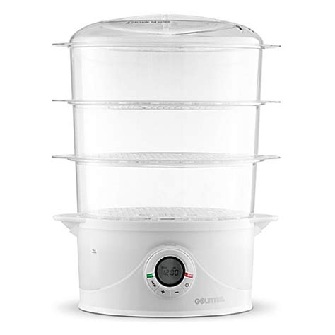 bed bath and beyond food steamer gourmia 174 steamtower 300 digital 3 tier vegetable and food