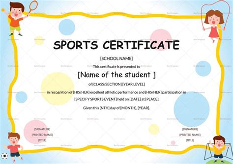 sport certificate templates for word sports participation certificate template