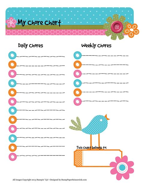 printable daily chore chart template 7 best images of free printable weekly chore charts