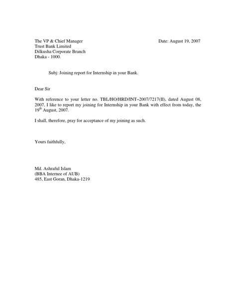 Joining Report Letter For Internship Joining Report