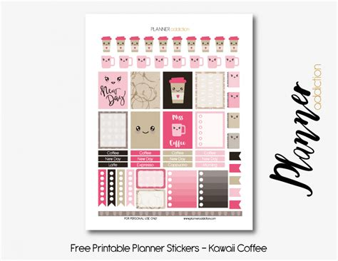 free printable kawaii planner stickers coffee kawaii planner addiction