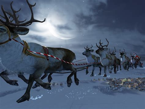 santa flying reindeer wallpaper free hd santa download