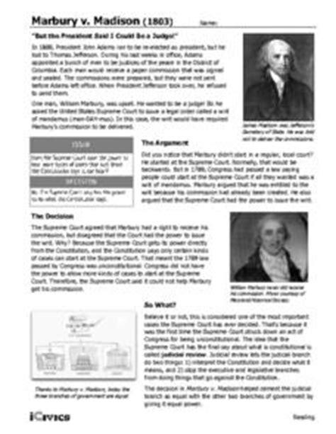 Marbury V Worksheet