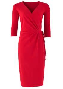 red wrap dress dressed up