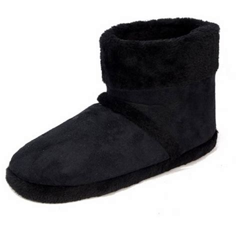 mens dunlop ankle boot knitted fur slipper bootie faux