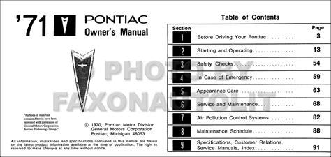 car repair manuals online pdf 1971 pontiac grand prix electronic valve timing 1971 pontiac owners manual bonneville catalina brougham grand ville owner book ebay