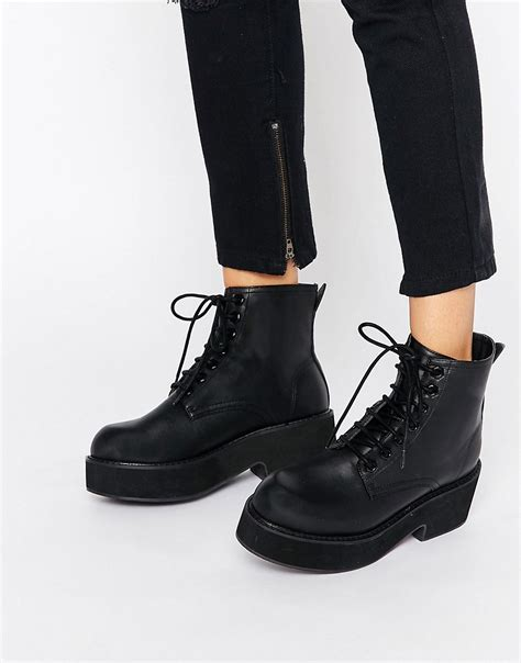 Chunky Heel Lace Up Boots shoptagr asos lace up chunky ankle boots by asos