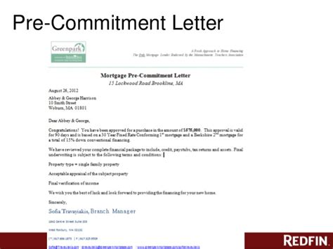 Rent A Commitment Letter redfin offer class denver co