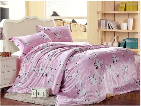 lily comforter pink lily floral luxury silk satin bedding comforter set