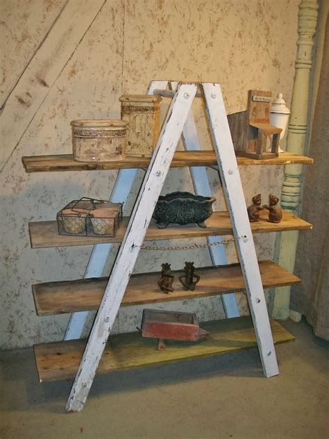 a shaped wooden ladder rustic shelving 5 rung