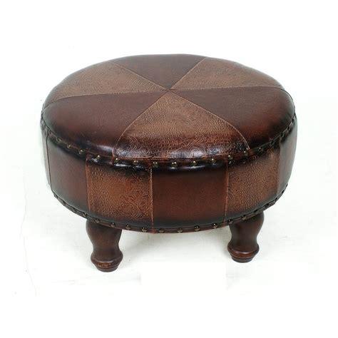 Patchwork Leather Ottoman - shop international caravan istanbul patchwork faux leather