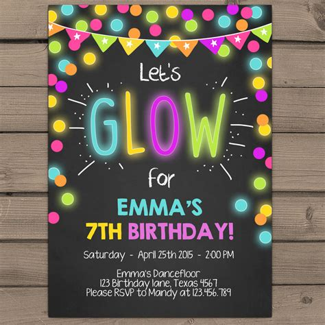 neon glow party invitation glow birthday invitation glow in