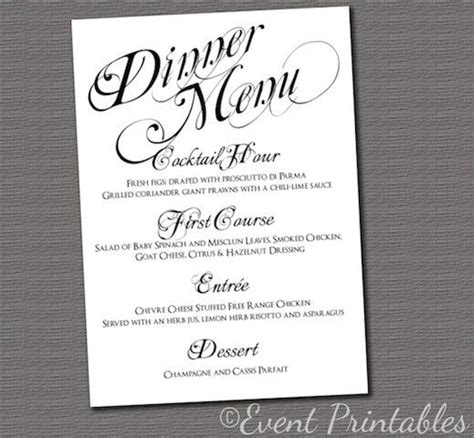 dinner menu card template printable menu card wedding reception dinner menu black