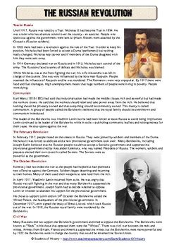 The Russian Revolution Worksheet russian revolution common reading worksheet by