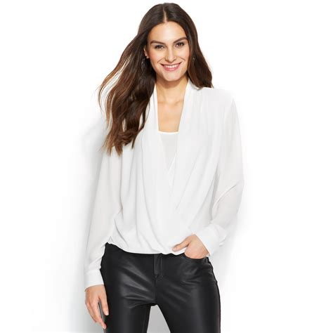 drape front blouse vince camuto long sleeve drape front blouse in white