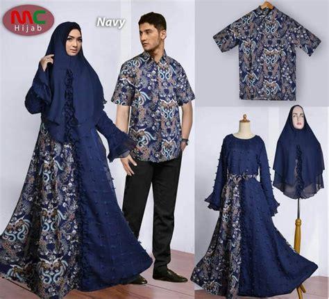 Baju Muslim Gaun Batik Syari Navy baju lebaran batik 2018 muslimah navy gamiscantik net