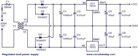 dual power supply circuit diagram regulated dual power supply circuit circuit diagram world