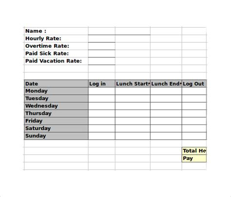 39 timesheet templates free sample example format free