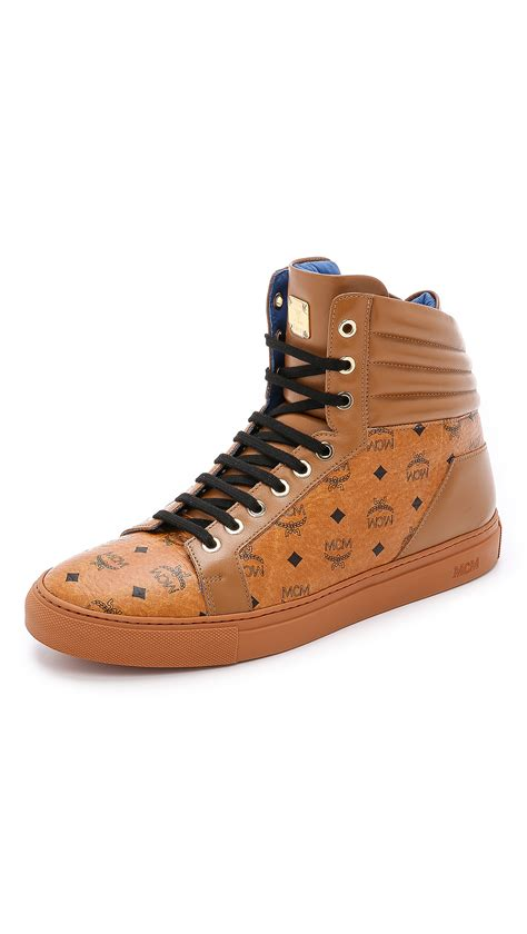 mcm mens sneakers mcm high top sneakers in brown for lyst