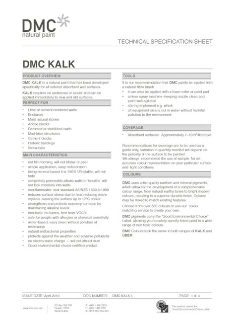 Specifications Dmc Natural Paint Paint Specification Template