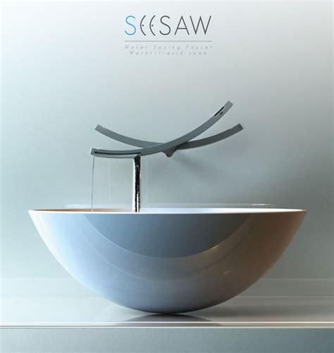 Cool Kitchen Sinks seesaw water saving faucet can reduce water waste in