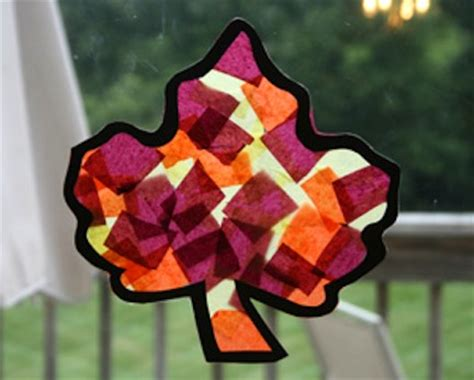 Tissue Paper Leaf Craft - 25 autumn craft ideas