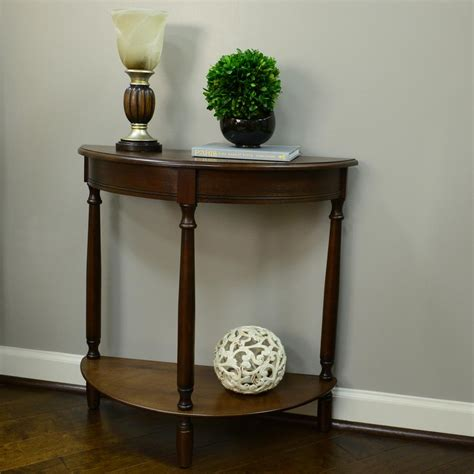 half console table decor therapy simplicity walnut half console table