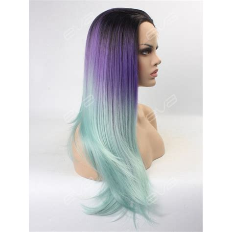 ambra color wigs purple to mint 2016 new ombre color synthetic lace front
