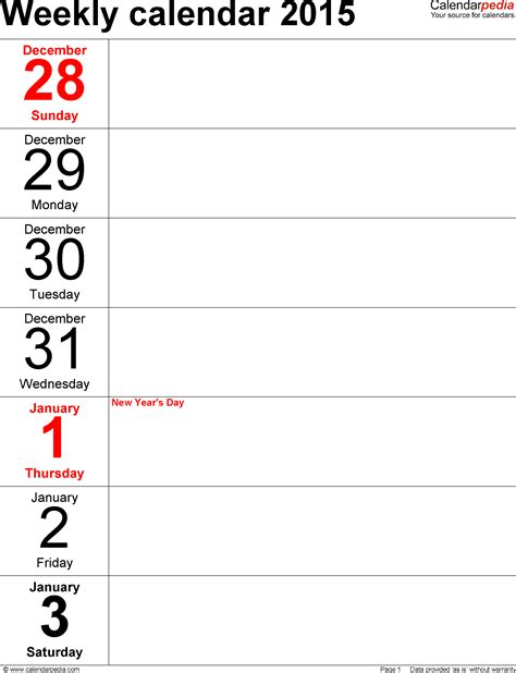 weekly calendar template 2015 free printable weekly calendar templates 2015