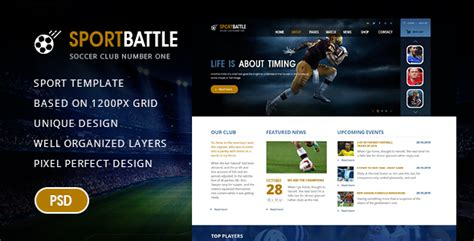 Sportbattle Sport And Soccer Psd Template By Lidyska Themeforest Best Sports Website Templates
