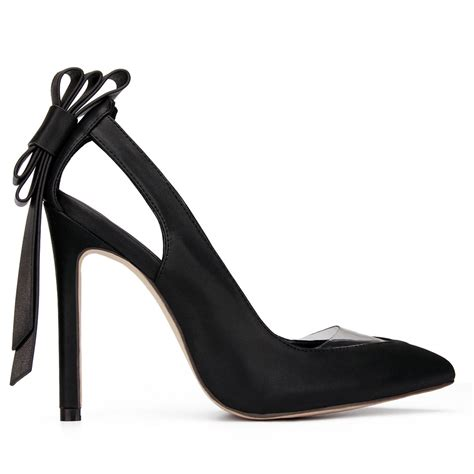 bowknot high heels black leather look bowknot high heels us 51 95 yoins