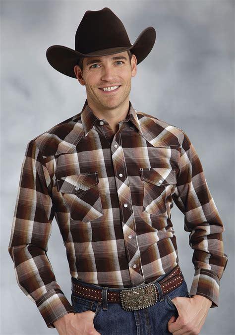 roper 174 mens brown plaid ls snap cowboy shirt