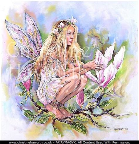 fairy magyk ecards christine haworth watercolours magnolia faerie poppet