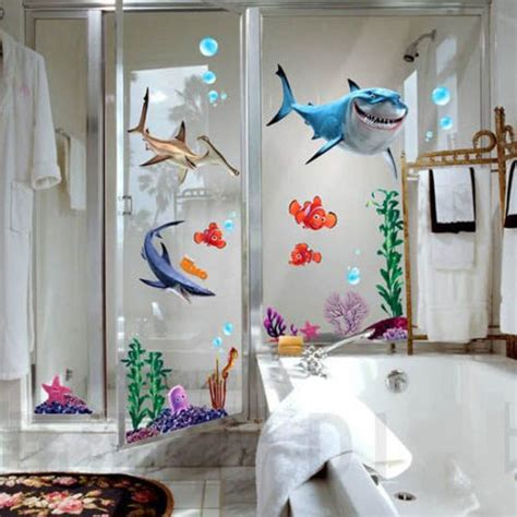 kids bathroom wall stickers 2016 new under seabed wall sticker shark fish 3d nemo