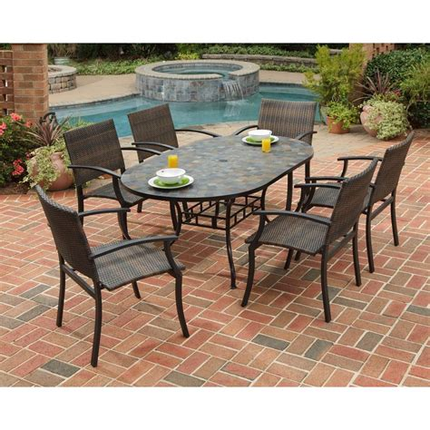 Patio Furniture Table Home Styles Harbor 7 Slate Tile Top Rectangular Patio Dining Set With Newport Chairs