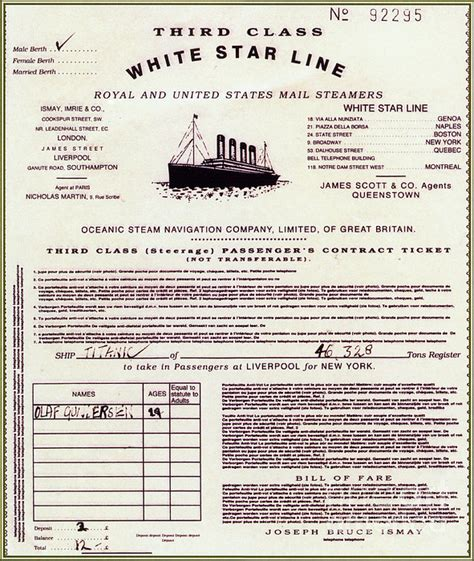 printable titanic tickets replica of titanic passenger ticket by photo researchers