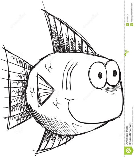 doodle drawing illustrator sketch doodle fish vector stock vector image 41634118
