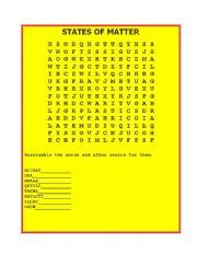 printable word search on matter english worksheets states of matter word search