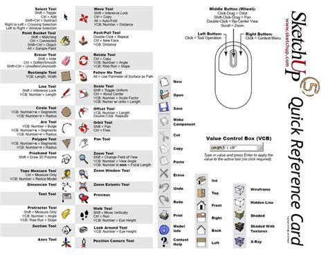 google sketchup quick tutorial sketchup 5 quick reference card tutorials pinterest