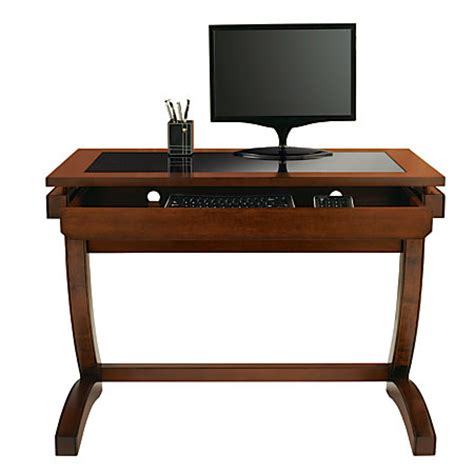 Realspace Coastal Ridge Writing Desk Mahoganyblack Glass Office Depot Writing Desk