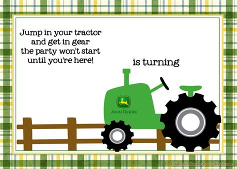 free printable deere tractor birthday invitation