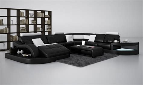 black and white leather sofas divani casa 6140 modern black and white leather sectional sofa