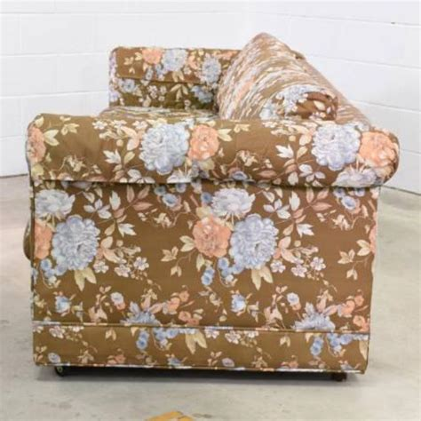 floral print couches long retro sofa in brown floral print loveseat vintage