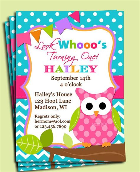 printable owl party invitations girl owl invitation printable or printed with free