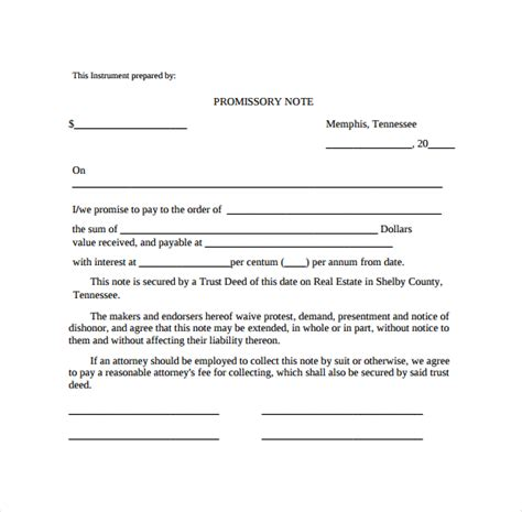unsecured promissory note template promissory note 26 free documents in pdf word