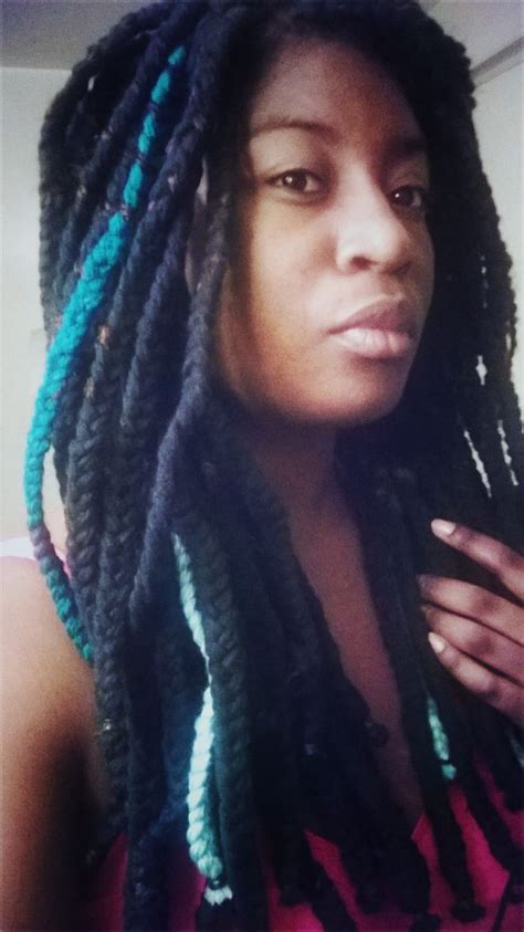hair style with color yarn black and blue yarn braids urbanprestigestore black